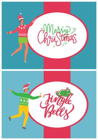 Merry Christmas and jingle bells, people and party. Man dancing at corporate fest celebrating New Year. Vector cartoon style managers in hat with champagne Illustration
