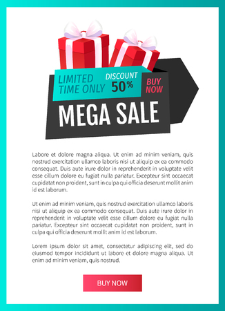 Mega sale, limited time only isolated present label web page template vector. 50 percent reduced cost, present with bow. Good bargain, special shop deal