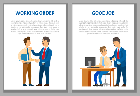 Working order, good job, boss giving instructions to employee, conversation between colleagues. Leader encouraging coworker, praising him, vector posters Illustration