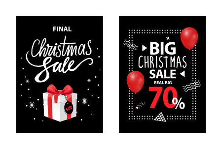 Christmas sale promo card, up to 70 percent off, vector brochure with balloon, gift box with price tag. Black cover with info about Xmas and New Year discounts