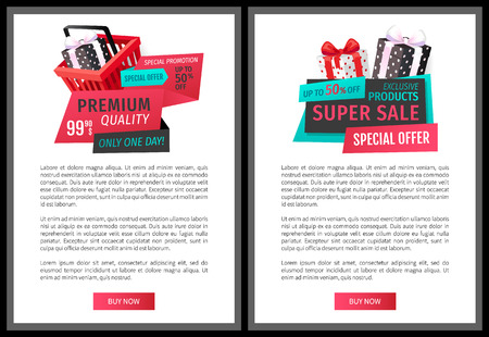 Special offer on exclusive products vector price tags on online promo vouchers. Vector leaflets with gift boxes and shopping cart, get presents for purchases Illustration