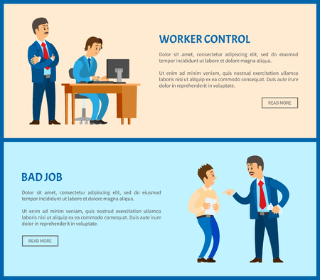Bad job and worker control vector web pages, unsatisfied boss claiming frustrated manager by improperly done work. Leader businessman, conflict at work