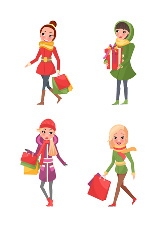 Female friends doing shopping isolated cartoon style characters. Stylish ladies in coats and scarves vector women shopaholics with presents gift boxes