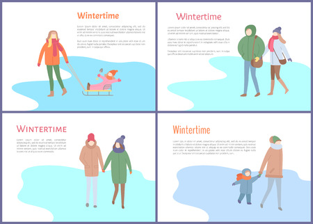 Wintertime mother with kid sitting on sledges vector. Family spending time together, mom and child, couple man and woman in winter season outdoors Çizim