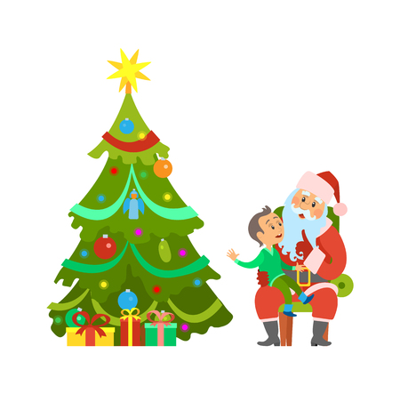 Christmas holiday, decorated tree and Santa Claus with kid sitting on lap vector. Evergreen pine with baubles toys, shining star. Child making wish 向量圖像