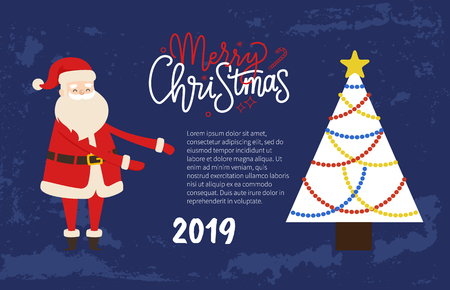 Merry Christmas Festive Picture Postcard of Santa. Vector Father Frost and Xmas Tree topper star with colorful fairy lights and bauble. Place for text