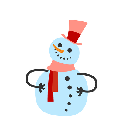 Female snowman in warm winter scarf and high hat. Smiling cartoon wintertime character greets everyone, Christmas postcard isolated vector snowball icon  イラスト・ベクター素材