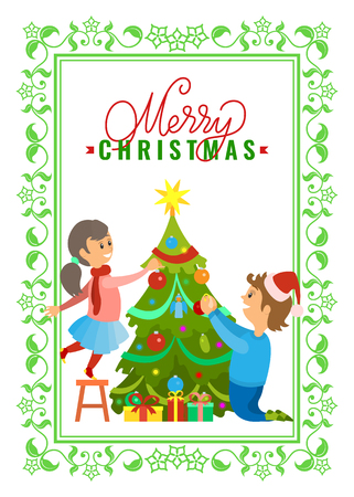 Greeting card Merry Christmas wishes, boy and girl decorating New Year tree on Xmas eve. Vector evergreen plant topped by stars, presents gifts under spruce