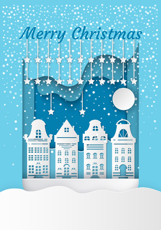 Merry Christmas residential buildings. Houses and moon with stars. Dark night and blizzard and snowdrift. Festive atmosphere in the district vector