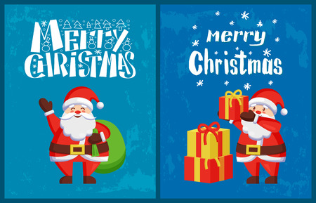 Saint Nicholas send wishes standing with sack full of presents, vector. New Year cartoon character Santa Claus put gifts on pile, winter holidays adventures 向量圖像