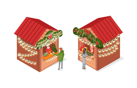 Christmas fair, market with street shops vector. People buying traditional decor on winter holiday, pine tree artificial spruce, garlands snowflakes