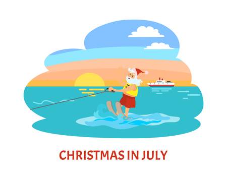 Christmas in July, Santa Claus riding on water skies in red hat, New year character on summer holidays vector. Water splashes and old man, seascape and ship