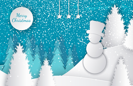 Merry Christmas cut out greeting card with winter landscape, snowman on hill in high hat, forest with white spruces, snowfall, moon and blue sky, vector papercut Illustration
