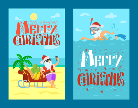 Merry Christmas, Santa Claus and sleigh full of bananas and grapes, palm tree. Vector New Year Character sweaming in warm sea in diving mask and flippers