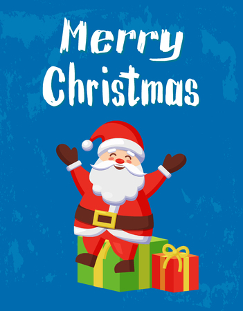 Merry Christmas warm wishes card, Santa and gift boxes. Vector cartoon fairy tale hero sitting on heap of gifts and spreading hands sending greetings Illustration