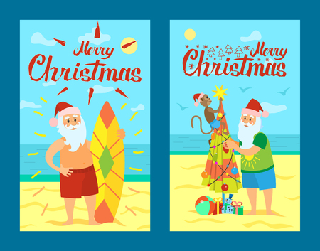 Merry Christmas, Santa Claus and surfing board. Xmas character decorating umbrella as New year tree on summer rest. Vector Saint Nicholas in tropical country