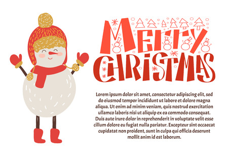 Merry Christmas postcard snowman in warm hat and mittens, knitted scarf and boots, vector isolated. Lettering congratulations and text greetings sample