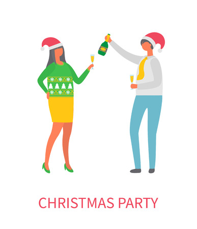 Christmas party, couple drinking alcohol champagne vector. People celebrating approaching on new year, woman wearing symbolic red Santa Claus hat