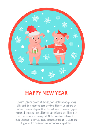 Happy New Year greeting in round frame, male and female piglets, pigs in hat and bow, Christmas holiday. Animal exchange gifts, livestock mammals, zodiac symbol vector Illustration