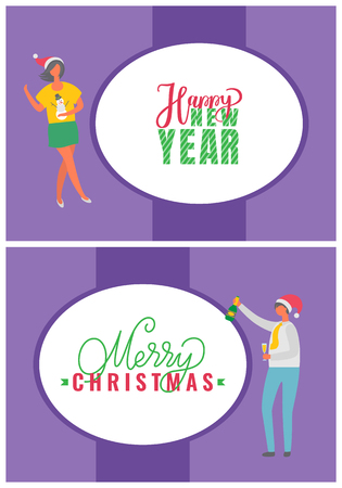Happy New Year and Merry Christmas postcards with people. Dancing man, woman in sweater with snowman and Santa hat, celebrating Christmas party, vector
