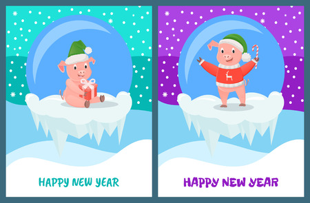 Happy New Year, pig with candy stick, smiling animal vector. Piglet wearing knitted sweater with reindeer print and Santa Claus hat. Glass ball toys
