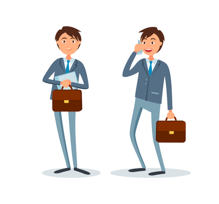 Consultants at suits isolated vector. Businessman talking on cell mobile phone with clients. People busy at work, boss solving problems, executives with briefcase Illustration