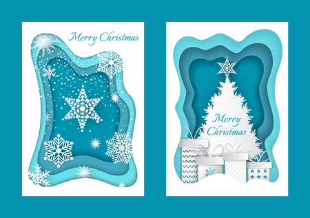 Merry Christmas paper cuts, pine tree and snow vector. Snowing weather and fir with presents and star on top. Gifts by spruce and snowflakes ornament