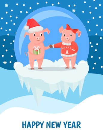 New Year greeting card, male and female piglets, pigs in hat and bow. Animal exchange gift, livestock mammals, zodiac symbol vector on icy cliff in ball
