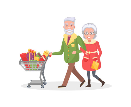 Senior couple grandmother and grandfather do shopping together. Elderly people with cart full of presents, wrapped gift boxes, spend time together, vector