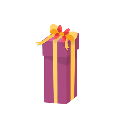 Purple shopping box decorated by yellow silk tape and topped by bow, vector Christmas surprise in package isolated on white. Wrapped gift in cardboard