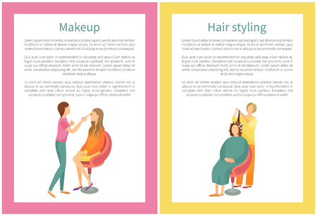 Makeup and hair styling posters set with text. Spa salon visagiste and hairdresser vector. Woman making new hairstyle, wavy locks, face beautification
