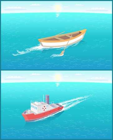 Nave da trasporto marittimo a vapore e barca da pesca a vela lasciando tracce nell'acqua. Trasporto barca a vela sullo skyline, icona di vettore galleggiante motoscafo Vettoriali