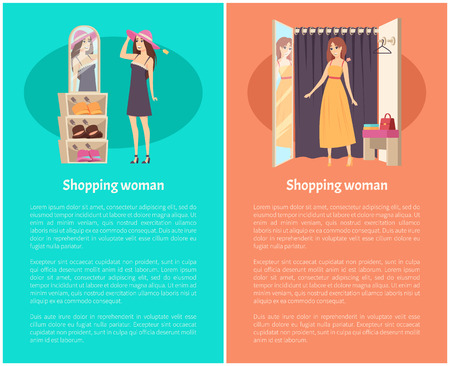 Shopping woman client in changing room trying on hat and dress vector. Mirror and lady wearing robe, hanger curtain. Customer choosing clothes and headwear