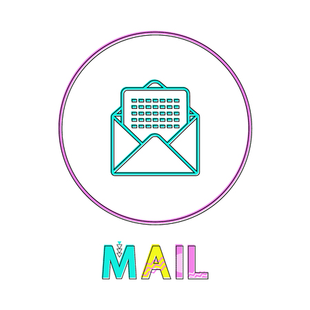 Mail round bright linear icon with envelope symbol. Messages received by Internet button outline template with letter isolated vector illustration.