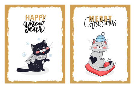 Happy New Year and Merry Christmas greeting cards from vector black kitty in knitted scarf and little white kitten with the black heart on its back.