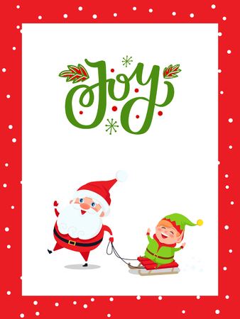 Christmas major joy card with Santa Claus and Elf. Vector Happy New Year cartoon characters Father Frost and dwarf riding on sleigh and having fun Vectores