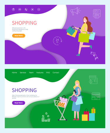 Shopping bag in hand of shopper returning home vector. LAdy with cart loaded with packages and presents, female customer happy purchase from stores