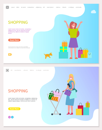 Smiling and walking girl with purchases. Woman with dog holding packages and lady with riding trolleys full of goods. Illustration of doing shopping vector