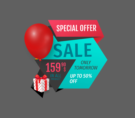 Special offer, exclusive product price reduction isolated banner. Inflatable balloon and present from shop, sellout and clearance, store promotion