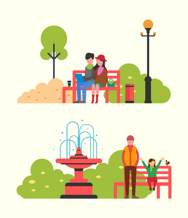 Couple watching movie sitting on bench in city park. Father and daughter walking in autumn season. Fall landscape, fountain and color trees, bin vector