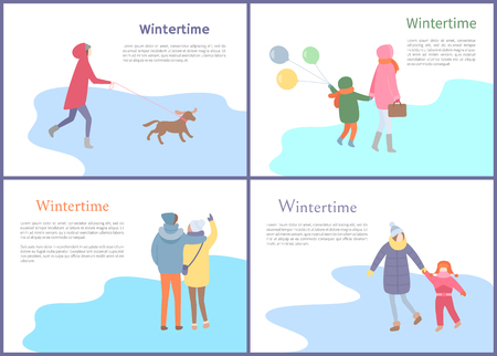 Wintertime couple walking in winter season set vector. Mother and child holding balloons, person with canine on leash, people spending time outdoors