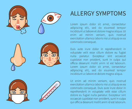 Factors of allergy symptoms problem infographic. Vector cough, runny nose, watery eyes, temperature and rash. Information poster with text and character 일러스트