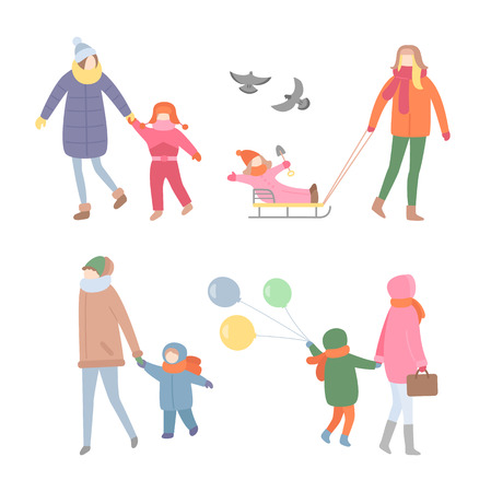Mother with kid, walking during winter season vector. People having fun outdoors, woman and child riding sleigh, flying pigeons and balloons decor