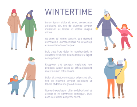 Wintertime season, people walking outdoors winter activities vector. Couple holding hands, mother with child daughter, mom and son, pair of man woman