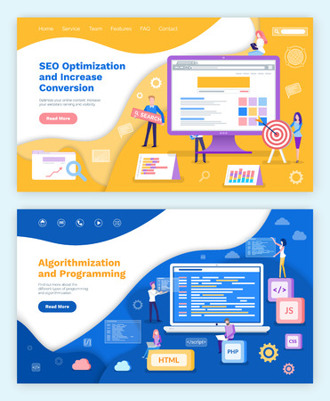 Seo optimization increase of conversion  posters set vector. Programming and coding, search engine working, internet technologies algorithmization