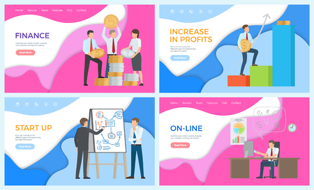 Online business working man, financial level up vector. Whiteboard with information about startup, charts and infographics. Finance increasing leaders Illustration