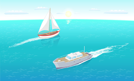 Modern yachts marine nautical personal ship icon. Sail boat with white canvas sailing in deep blue waters and leave trace vector illustration vesses  イラスト・ベクター素材
