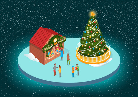 Christmas fair with fir-tree with garlands and star on top near decorated shop-fairs. Standing and speaking people with boxes vector on shiny background