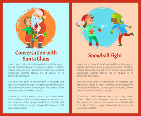 Conversation with Santa and snowball fights postcards. Kid telling about his dreams to Saint Nicholas sitting on knees, children fighting outdoors by snow Ilustracja