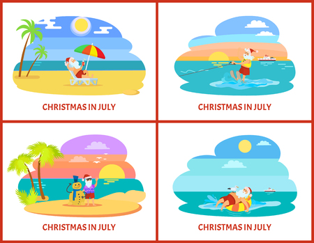 Christmas in July with Santa laying on chaise-lounge with parasol and standing with snowman, going on water skiing on sunset view vector holiday postcard